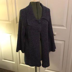 Carolyn Taylor blue cardigan sweater